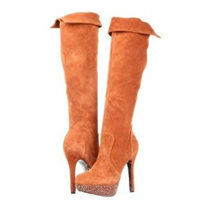 Betsey Johnson Studded Thigh Knee High Suede Boots